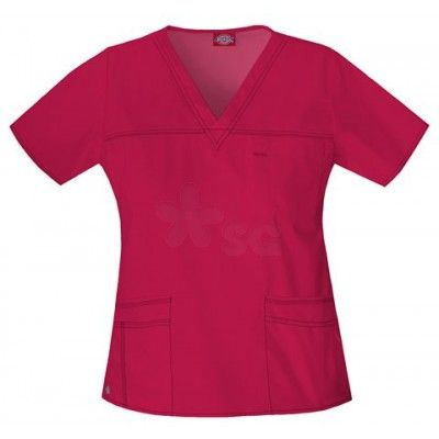 Dickies youtility basic red scrub top red nurse scrubs for Custom embroidered t shirts no minimum