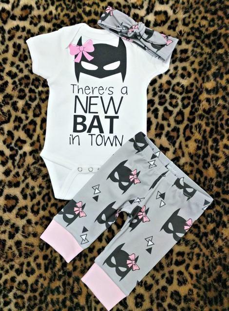 Baby Girls Batmask with Bow Legging + New Bat in Town Bodysuit + Headband Beanie