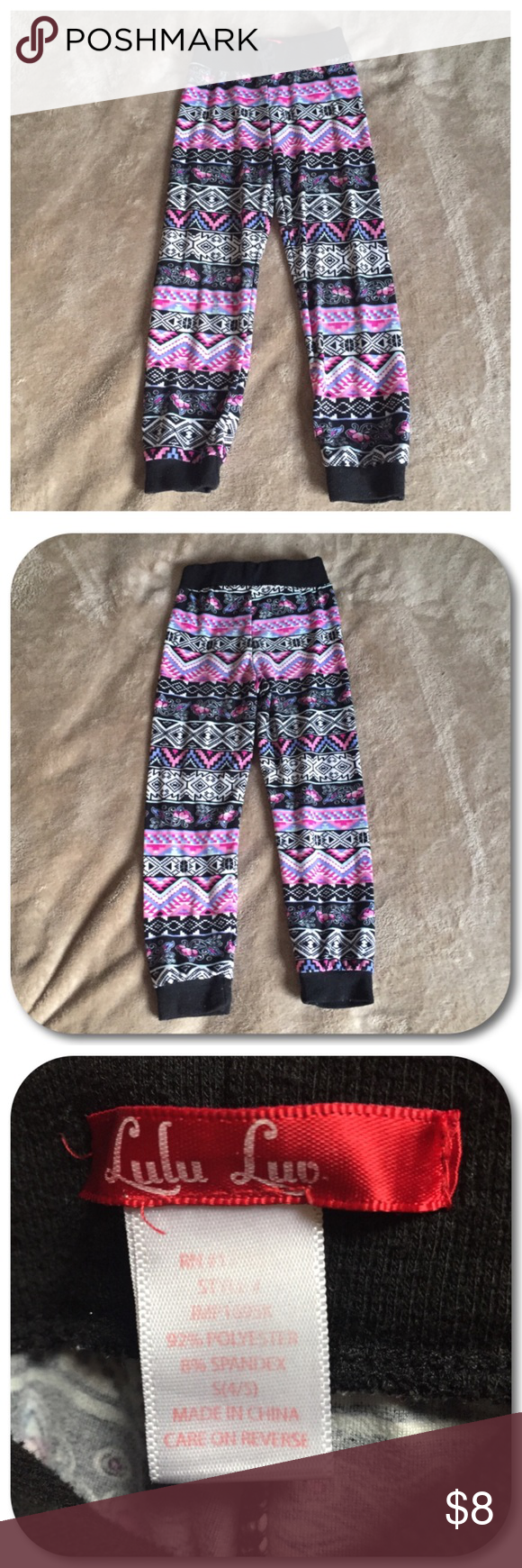 2586c46ad Lulu Luv Jogger Pants Lulu Luv Aztec print jogger pants. Girl size small (4  5). Black