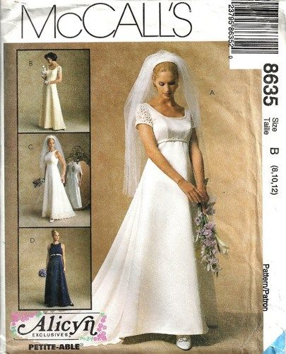 McCalls 8635 Alicyn Wedding Gown Sewing Pattern Size 8, 10, 12 ...