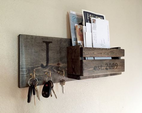 Rustic Monogram Mail And Key Holder In Ebony Letter And Key Organizer Personalized Wedding Gift With Images Key Holder Diy Mail And Key Holder Diy Holder