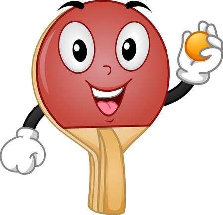 Mascot Ilustracion De Una Raqueta De Tenis De Mesa De La Celebracion De Una Bola Raqueta De Tenis Tenis Raqueta