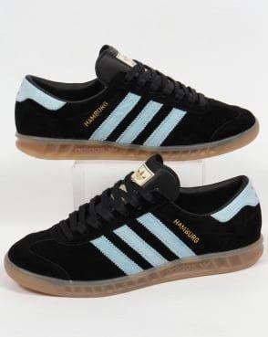 Adidas Trainers Adidas Hamburg Trainers Black/Sky Blue | Adidas ...