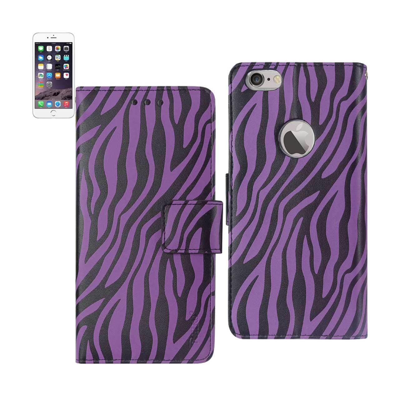 New Animal Zebra Print Wallet Case In Purple For iPhone 6 Plus 3-In-1