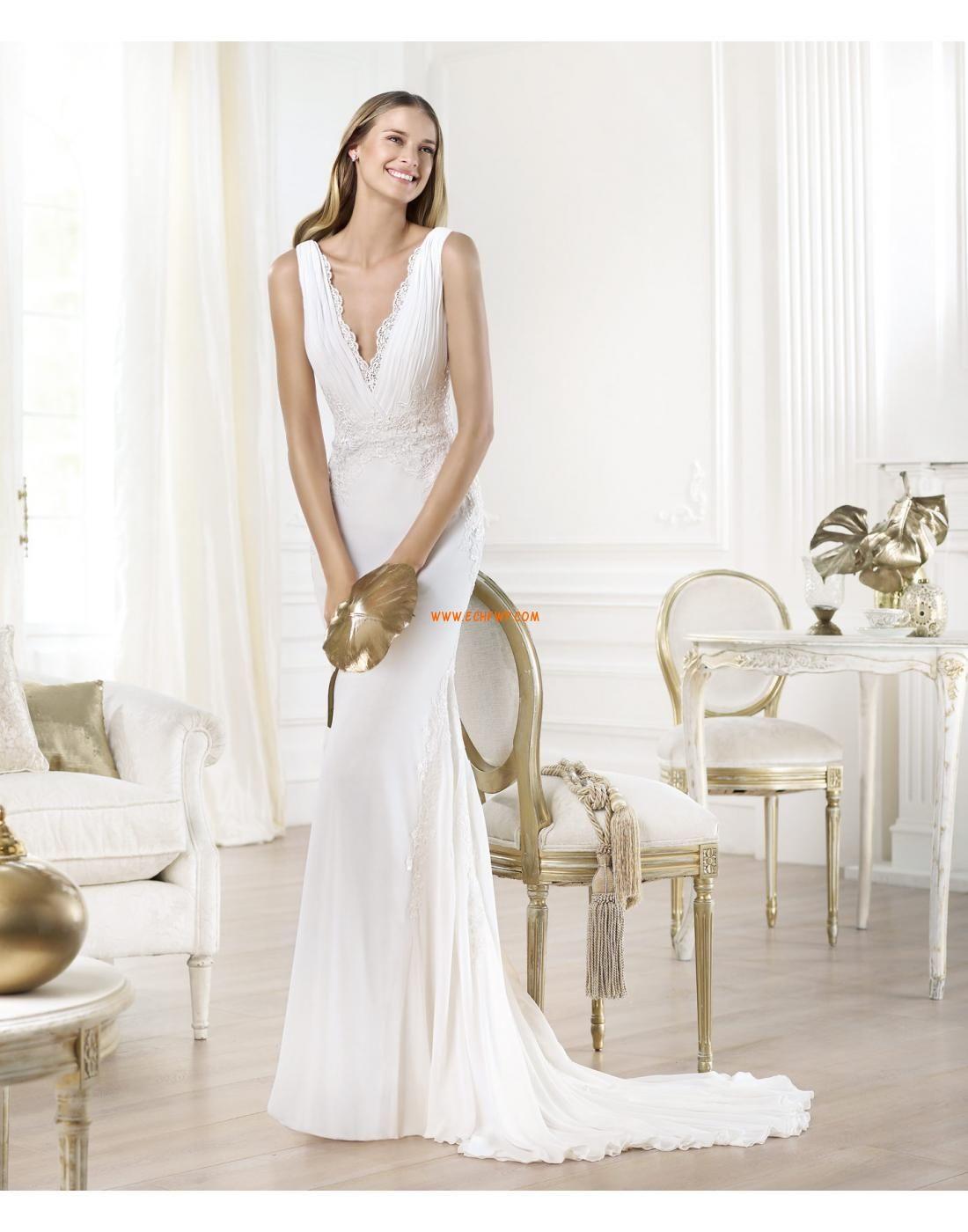 Trumpet/Mermaid V-neck Chiffon Wedding Dresses 2014