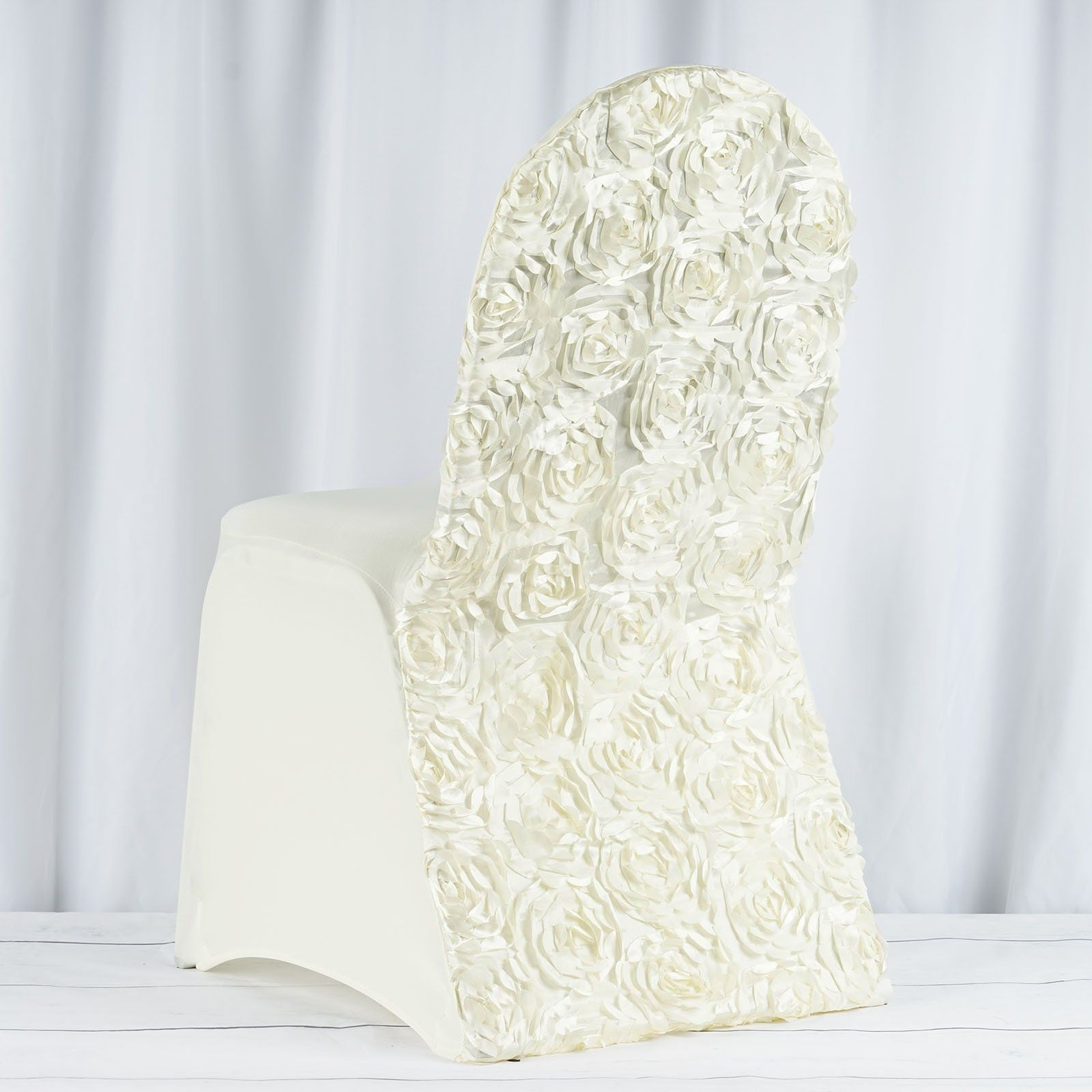 ivory satin rosette stretch banquet spandex chair cover ivory is rh pinterest com