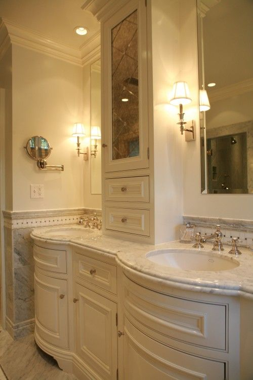 Curved vanity. White. Mirror cabinetry with diamond beveling. Marble.    #bathroom