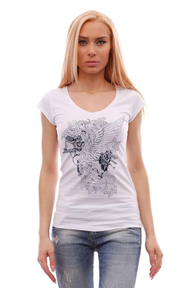 Women's white short-sleeved V-neck tee, fashionable t-shirt with stylish graphic #BrutalStreetLife #GraphicTee  #tshirt #tees #fashion #streetwear #streetstyle #style