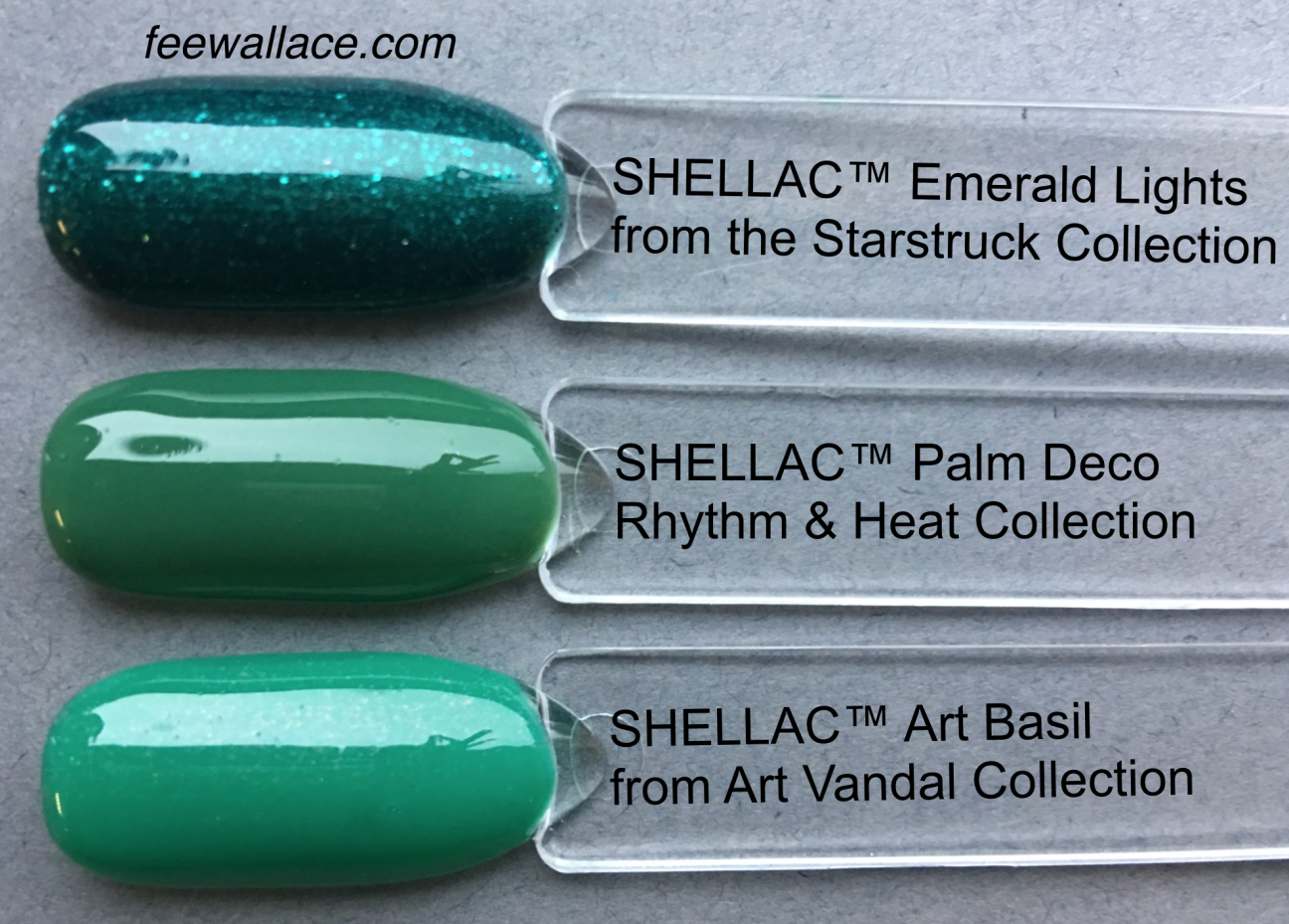 color comparison shot for shellac palm deco by fee wallace