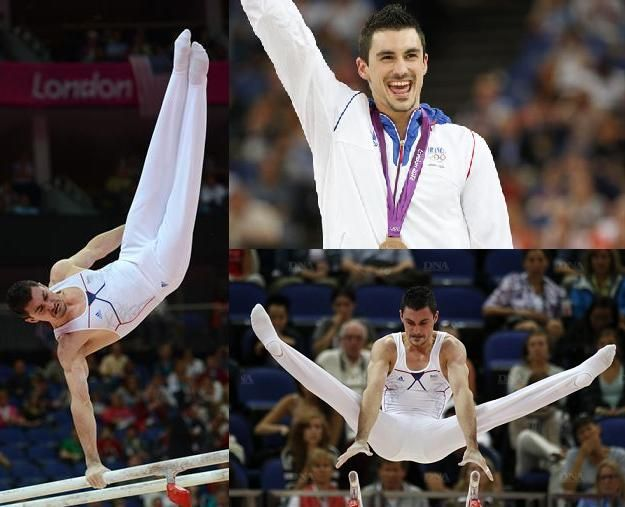 Hamilton Sabot with his bronze medal on parallel bars at the Olympics Games of London in 2012.