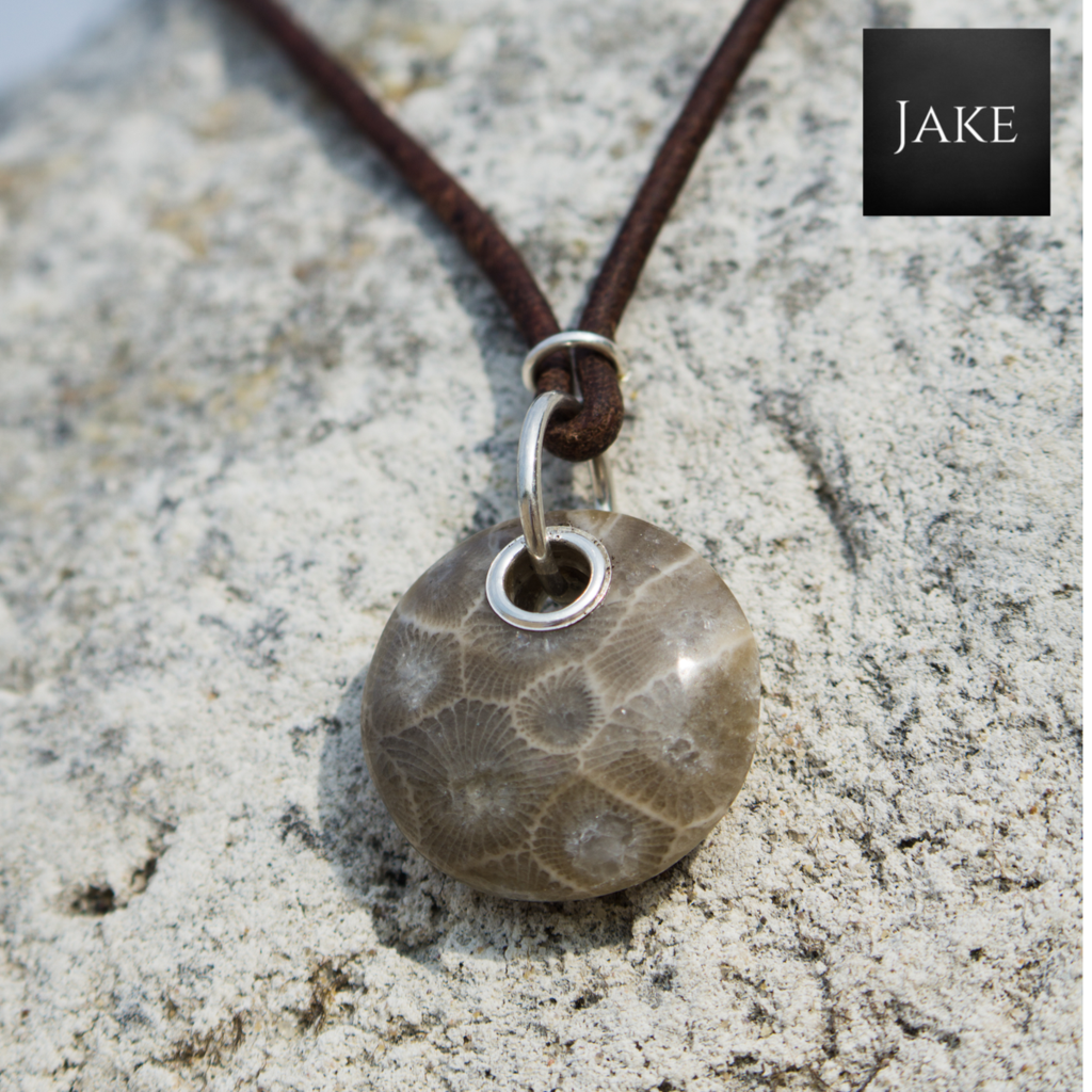Photo of Petoskey Stone Necklace with Genuine Leather and Silver
