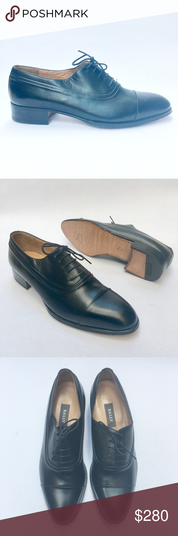 959bb1a005c Bally Oxfords Cap Toe Cagney Black Dress Shoes 7.5 Bally Men s Shoes Cagney Black  Lace Up