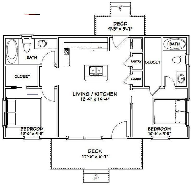 36x20 House 2 Bedroom 2 Bath 720 Sq Ft Pdf Floor Plan Instant Download Model 3a Apartmentfloorplans En 2020 Maison 2 Plan Petite Maison Maison