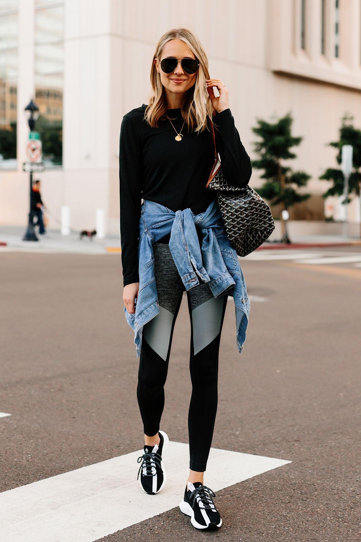 4eef2d204ac Blonde Woman Wearing Black Long Sleeve Top Denim Jacket Reebok Colorblock  Leggings Reebok Sole Fury Black Sneakers Goyard Tote Fashion Jackson San  Diego ...