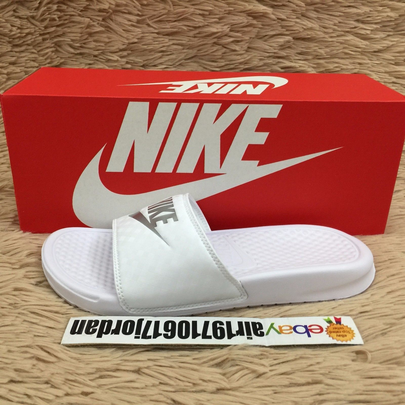 new concept 587af 563e0 Wmns Nike Benassi Jdi White Silver 343881-102 Us 69 Slides Sandal Slippers  Nsw