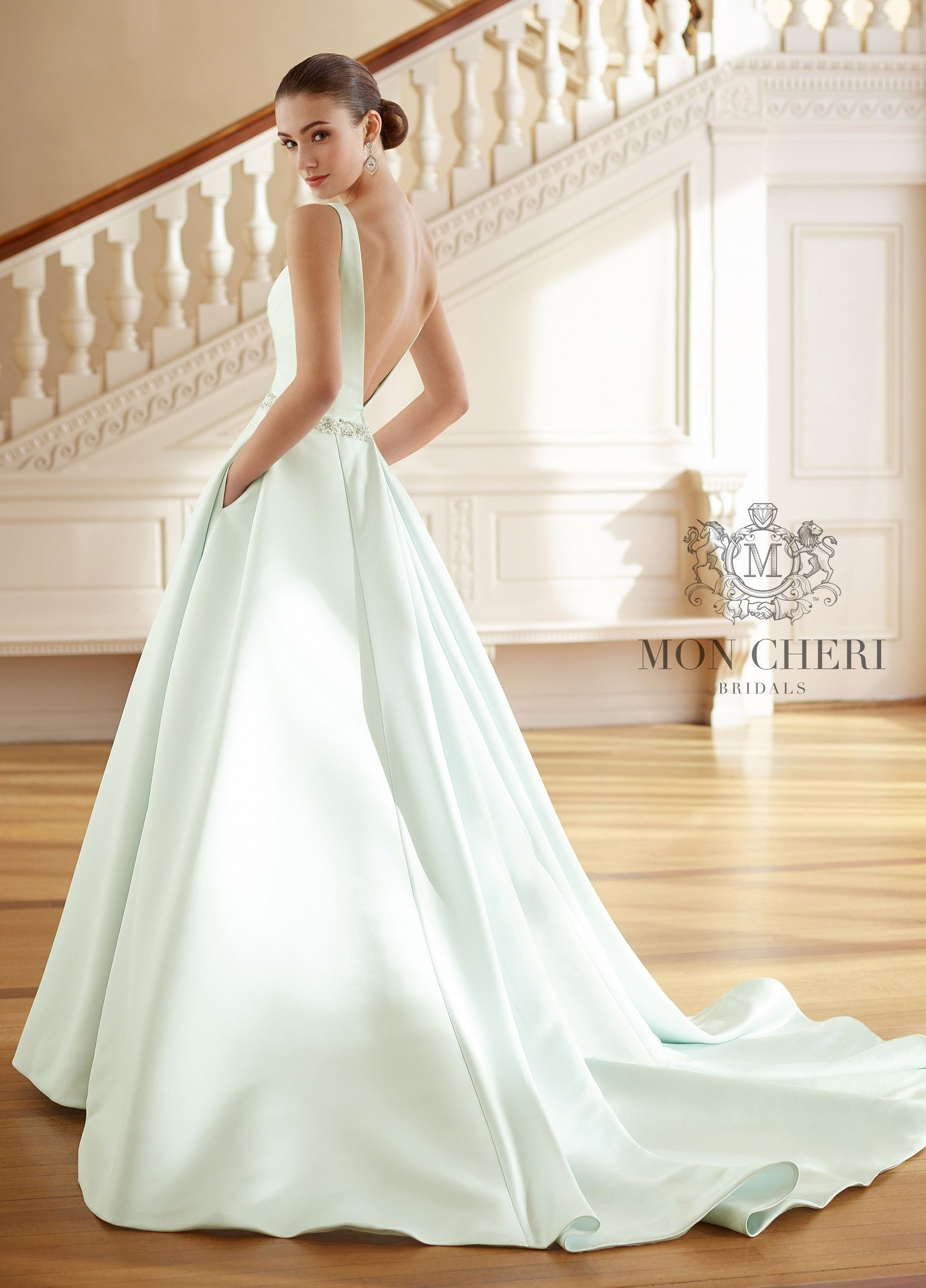 fall bridal party pictures%0A Vneck Satin Aline Wedding Dress with Pockets        Grace