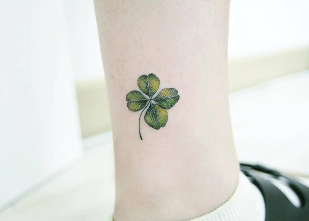 Small Clover Tattoo On The Ankle Tatuajes