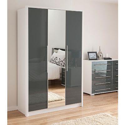 Minsk Grey Gloss Wardrobe with Mirrors - 3 Door