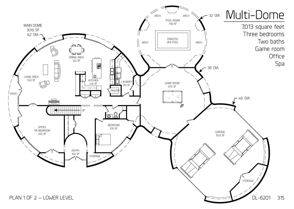 multi dome 7013sqft 3bd 2ba game room office spa house plans in rh pinterest com