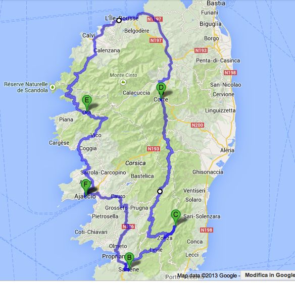 A Road Trip Across Corsicas Mountains and Villages Road trip map