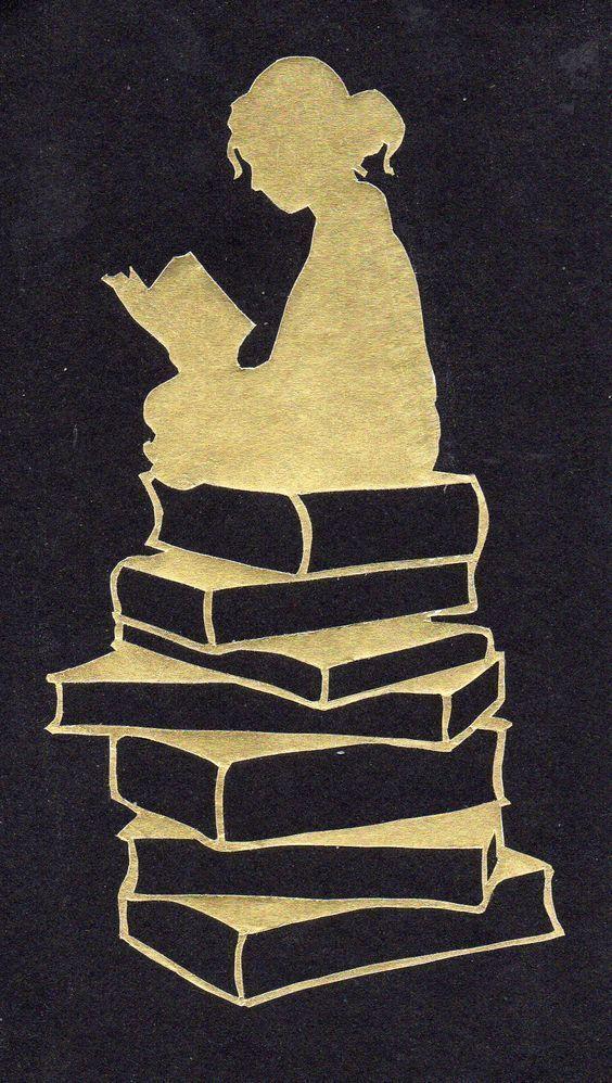 Silhouette lesendes Mädchen  lesendes Mädchen silhouette stacks #libraryideas