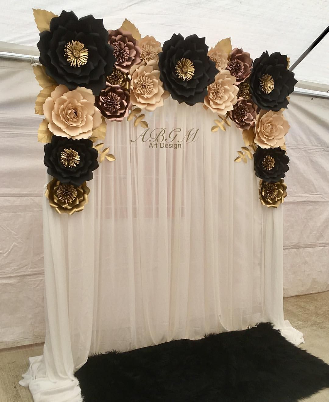 Flower Backdrop In Colors Black Rose Gold Tan And Gold Party Partydecor Pa Black And Gold Party Decorations Rose Gold Party Decor Gold Party Decorations