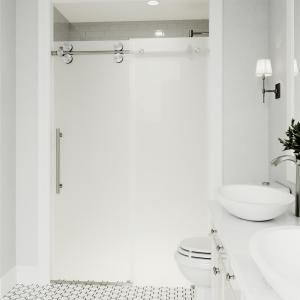vigo elan 60 in x 74 in frameless sliding shower door in stainless rh pinterest com