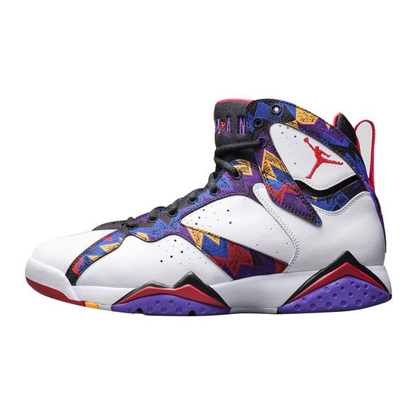 2e02139a795 Men's Air Jordan 7 White/Red Retro Bright Concord Basketball Shoe ...