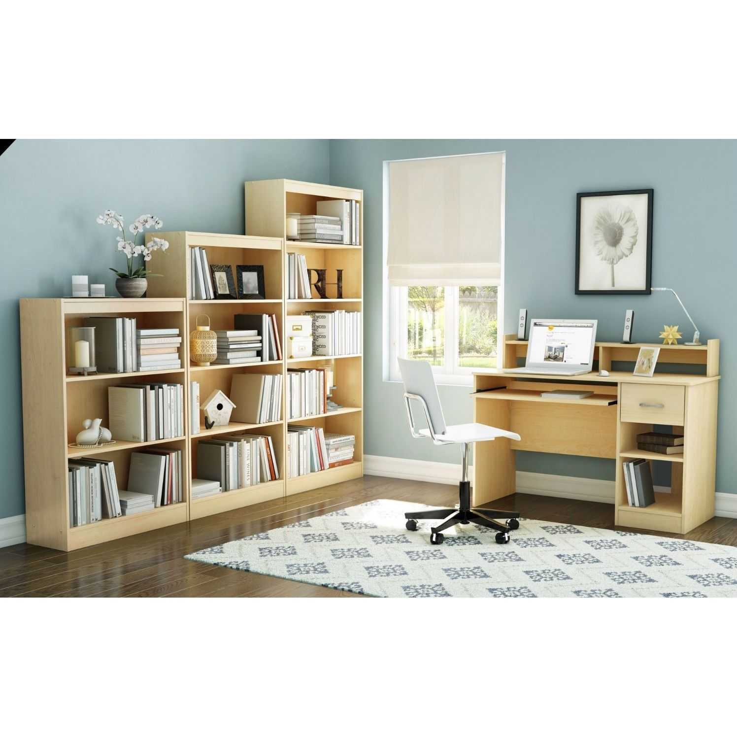 home office computer desk in natural maple wood finish home rh pinterest de