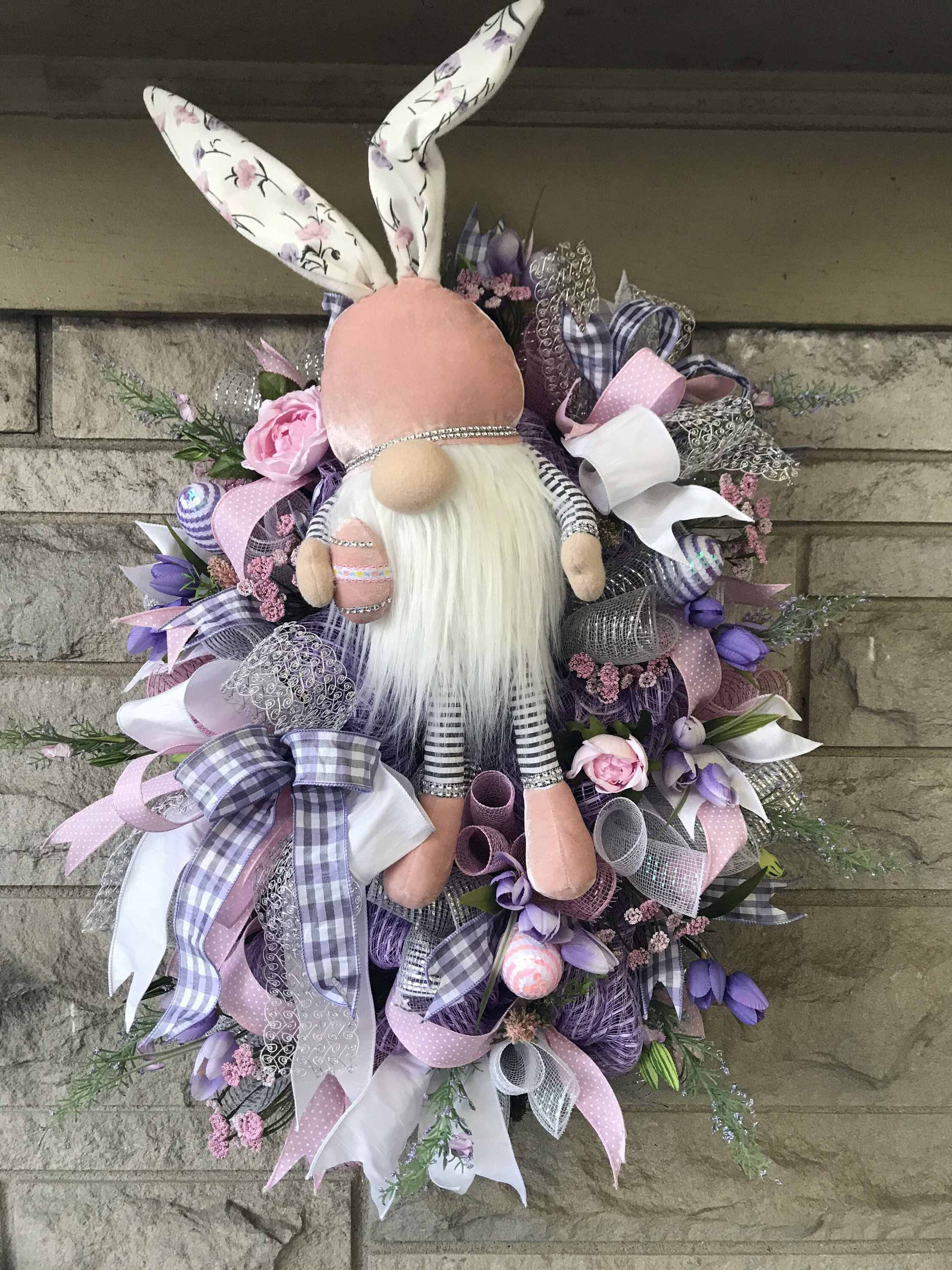 Photo of Bunny gnome mesh Easter wreath for front door