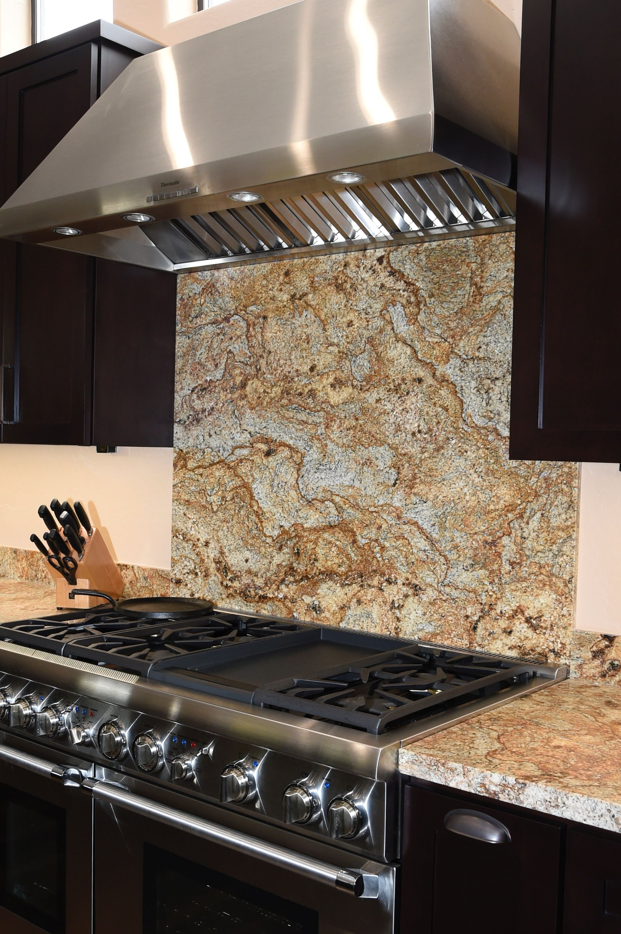 - Kitchen Remodel, Granite Backsplash, Commercial Range And Hood