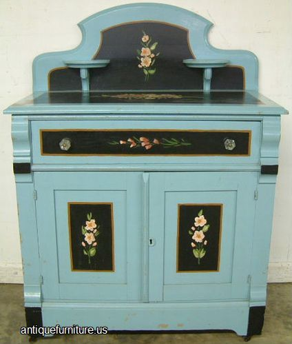 Antique Painted Cottage Furniture | Antique Paint Decorated Cottage  Washstand at Antique Furniture.US - Antique Painted Cottage Furniture Antique Paint Decorated Cottage