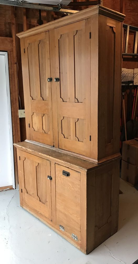 "antique 86"" tall stepback cupboard kitchen hutch cabinet 