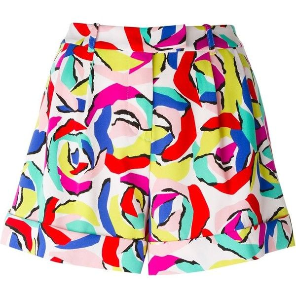 Boutique Moschino printed shorts (1.200 BRL) ❤ liked on Polyvore featuring shorts, multicolour, multi colored shorts and colorful shorts