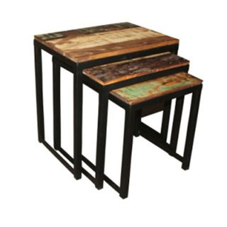 Iron/ Reclaimed Wood 3-piece Nesting Table Set (India)  sc 1 st  Pinterest & Iron/ Reclaimed Wood 3-piece Nesting Table Set (India) | delightful ...