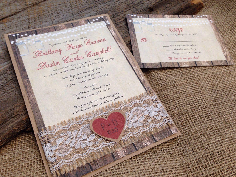interesting wedding invitation messages%0A Rustic Wedding Invitation Burlap Wedding Invitation Lace Wedding Invitation Mason  Jar Wedding Invitation