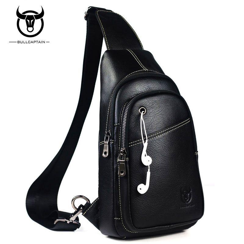09e8808a8627 BULLCAPTAIN Fashion Men Bag Genuine Leather Man Crossbody Bags High Quality  Chest Pack Travel Casual Shoulder Bag