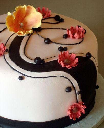 Mothers Birthday Cake with chocolate swirls Fancy birthday cakes