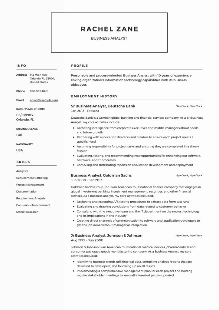 Business analyst resume example new full guide project