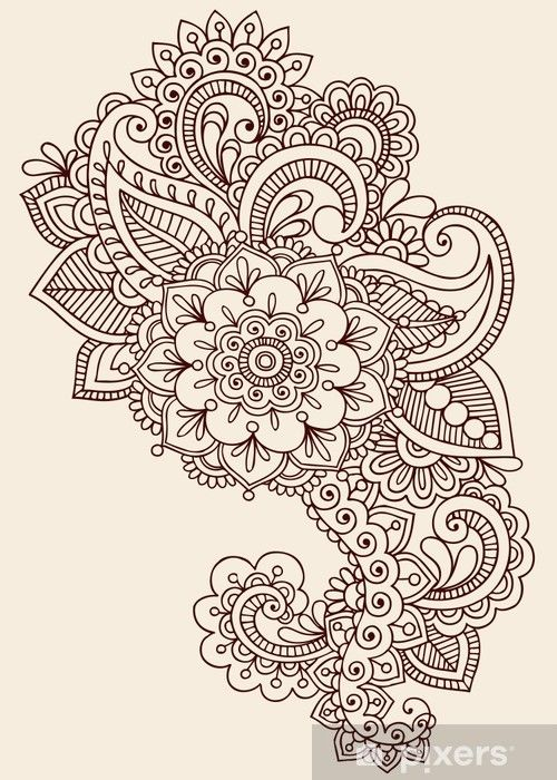 Ornate Henna Paisley Doodle Vector Design Elements Wall Mural • Pixers - We live to change