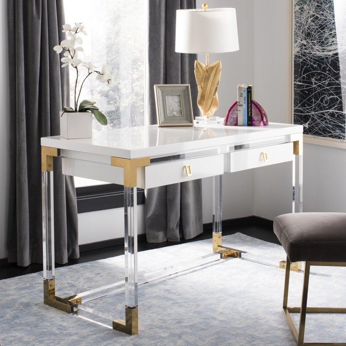 extravagant home office room. ethereal and extravagant, this contemporary acrylic desk adds designer style to any home office or living room. crafted with a combination of clear acrylic, extravagant room e