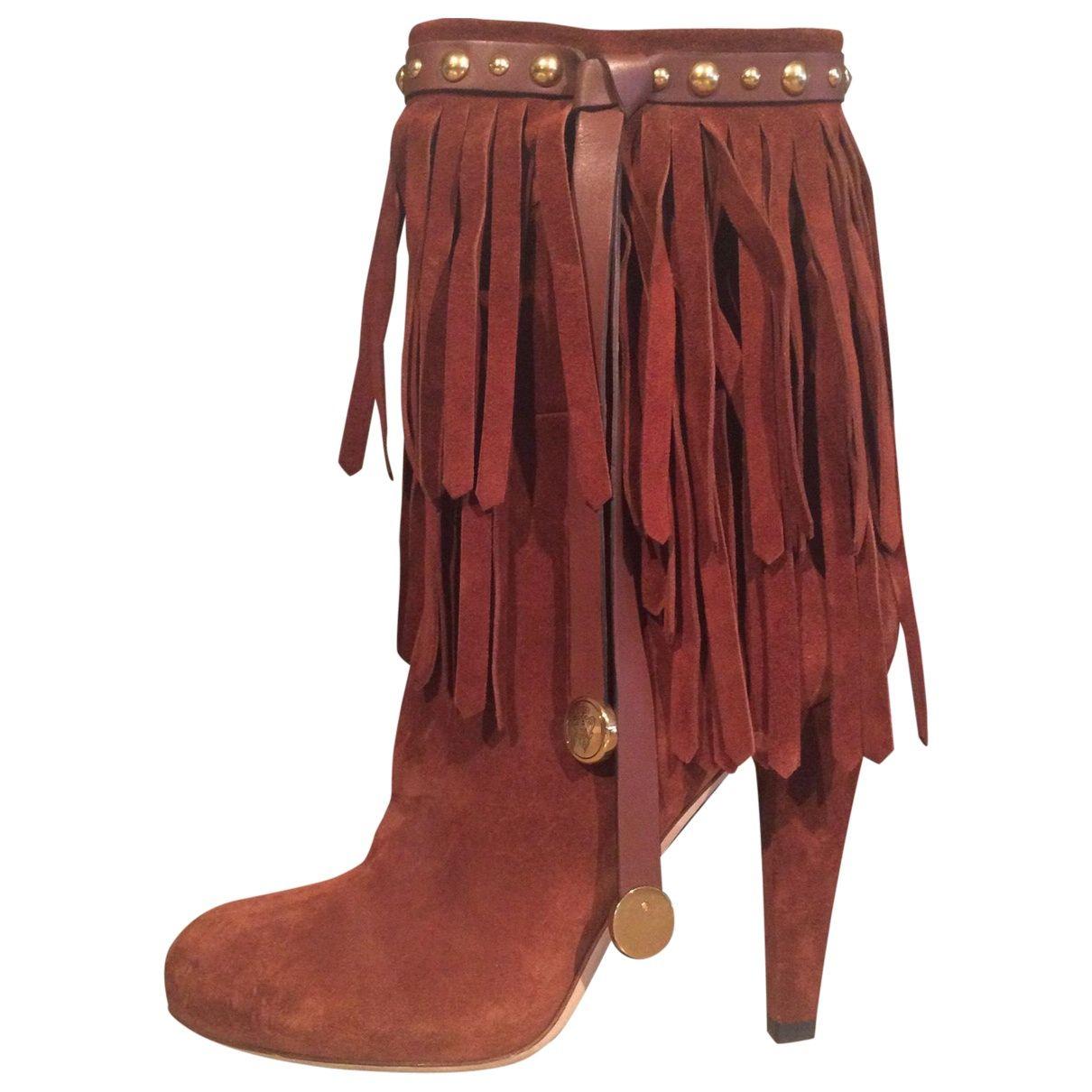 fd5e45e58 Gucci Camel Suede Boots | Vestiaire Collective | ORANGE | Boots ...