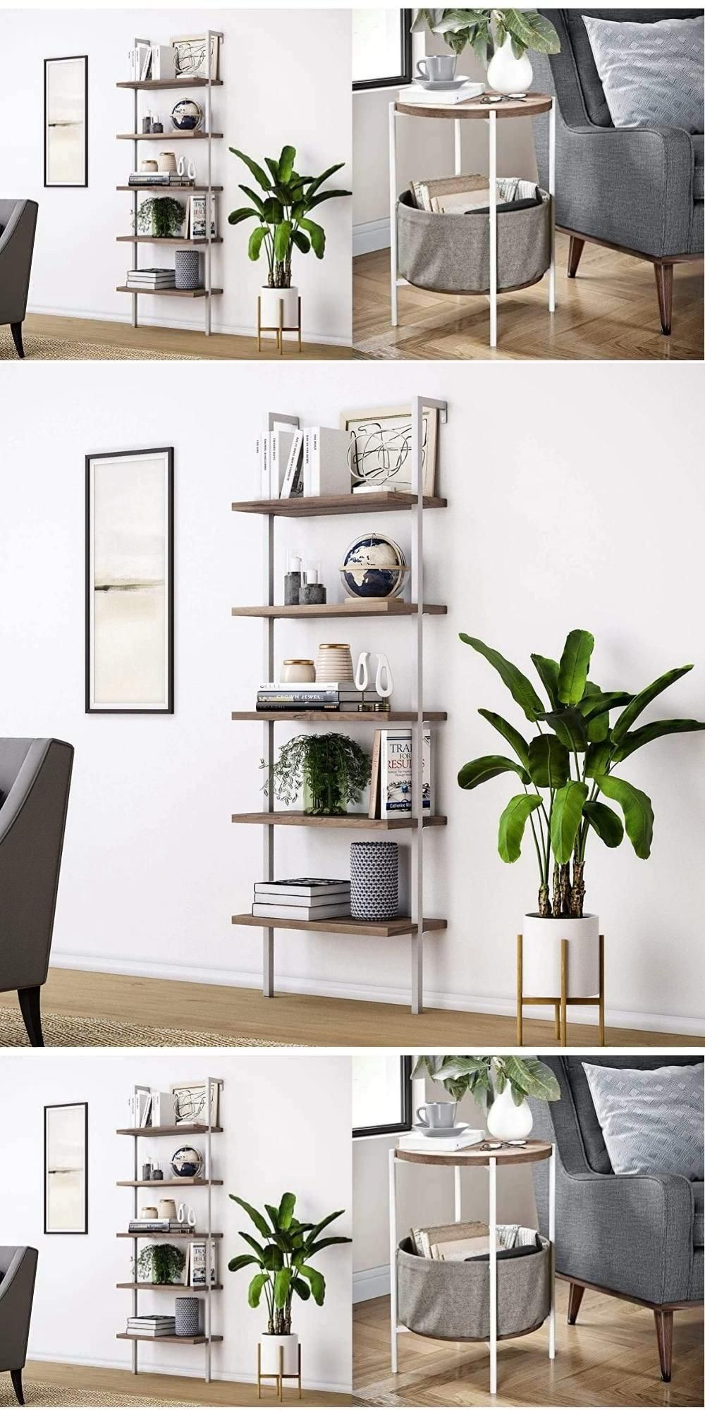 5-Shelf Wood Ladder Bookcase with Metal Frame & Or