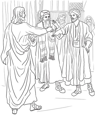 Jesus Heals A Man With A Withered Hand Coloring Page With Images