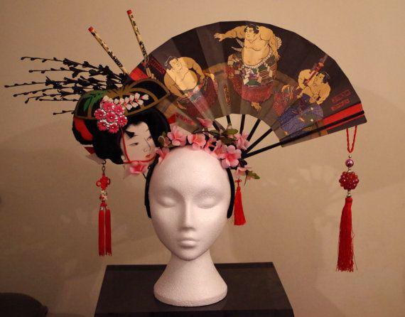 Geisha geisha black orchid gothic Japanese headdress headpiece