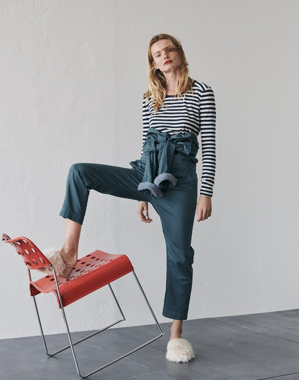 173cf2f553 madewell whisper cotton long-sleeve crewneck tee worn with sherpa coverall  jumpsuit + the harper mule in mongolian shearling.