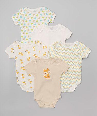 Look what I found on #zulily! Yellow & White Fox Bodysuit Set - Infant #zulilyfinds