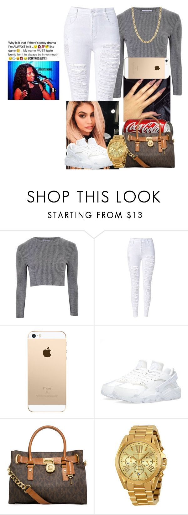 """#ONFLEEK"" by fashionismypashion476589 ❤ liked on Polyvore featuring Glamorous, Justin Bieber, NIKE, MICHAEL Michael Kors, Michael Kors and Fremada"