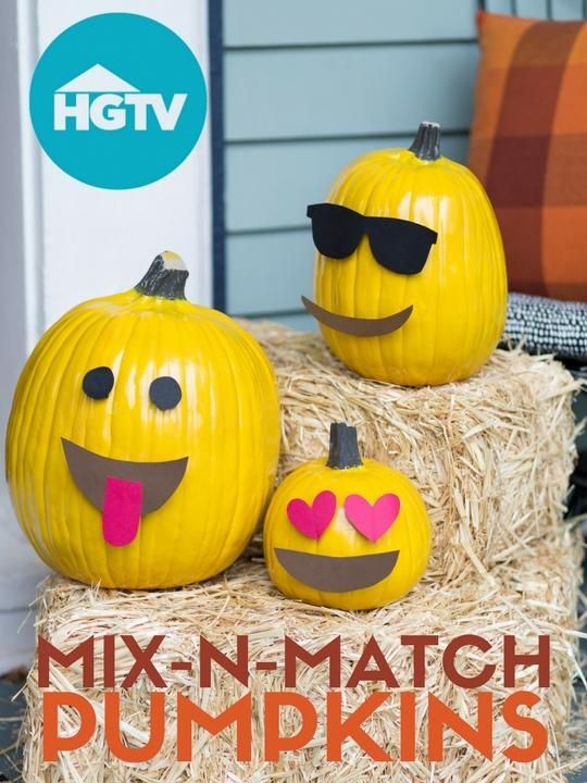 Create a Fun Fall Front Porch With Emoji Pumpkins Emoji, Holidays - halloween cute decorations