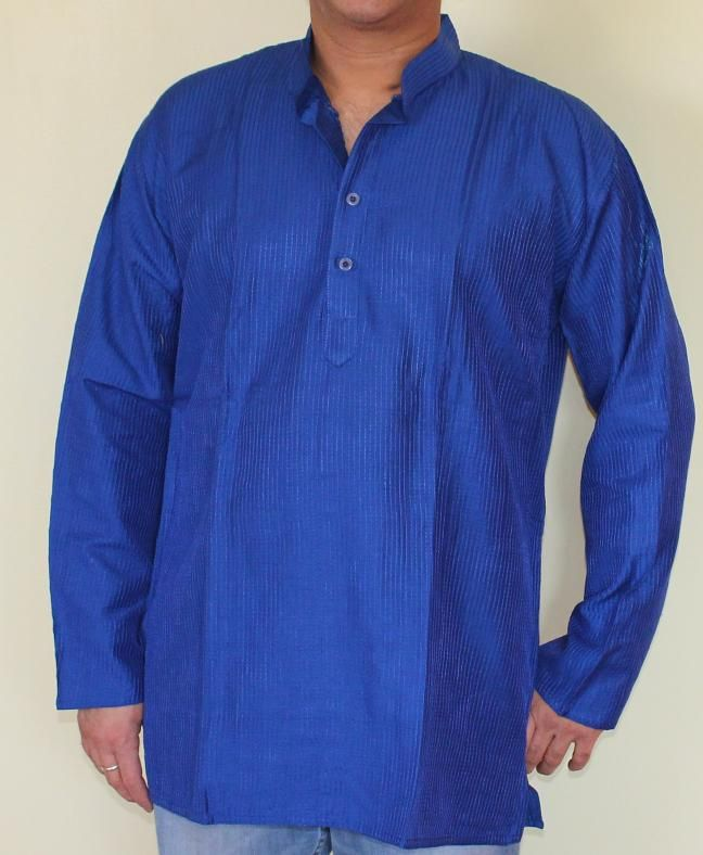 Blue Silk Kurta with matching embossed embroidery around neck. <br /> <br />Color: Teal <br />Chest Size 42'' <br />Shoulder Size 40''